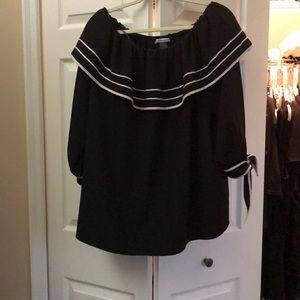 Nygard Black Sailor style off shoulder blouse